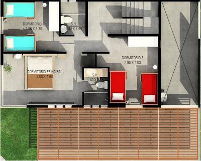 Planos de casas de 2 pisos y terraza en 3er piso planos for Terrazas 2do piso