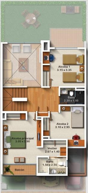 Planos de casa de 3 pisos metros cuadrados de for Casa 50 metros cuadrados
