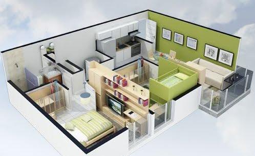 Planos 3d planos de casas gratis y departamentos en venta for Departamentos pequenos planos