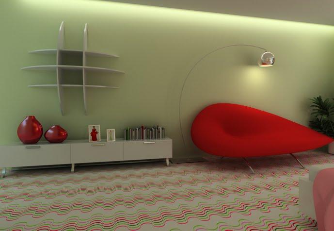 Dormitorio verde y rojo con blanco for Disenar dormitorio juvenil 3d