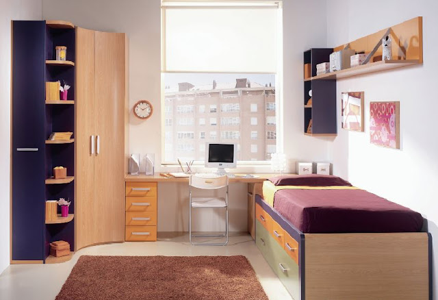 Dormitorio juvenil para espacios peque os con colores - Dormitorio pequeno juvenil ...