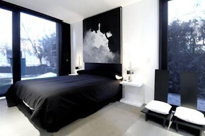 Dormitorios minimalistas blanco y negro via www - Dormitorio negro y rojo ...