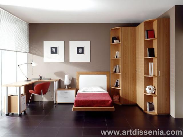 Dormitorio juvenil y elegante con closet en esquina for Recamaras modernas con closet