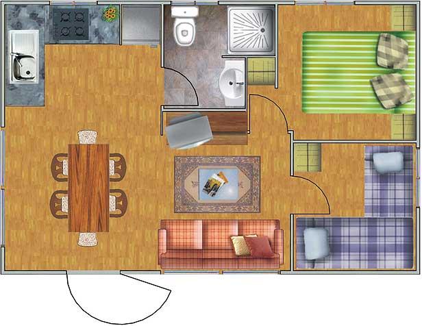 Plano de casa de con 2 dormitorios planos de for Planos de casas 90m2