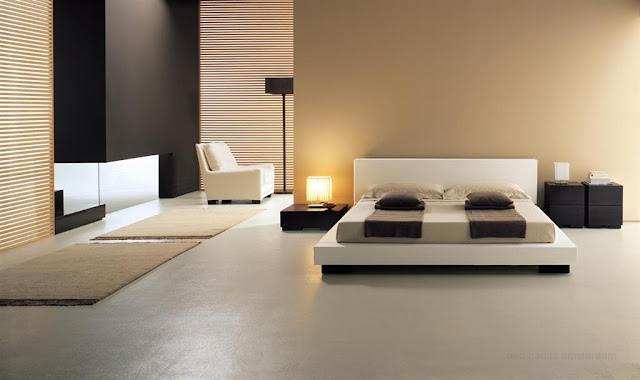 Decoracion minimalista en dormitorio crema con tonos tierra for Colores zen para dormitorio