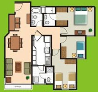 Planos de departamentos peque os de 70m2 a 80m2 planos for Planos de cocina y lavanderia