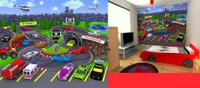 Dormitorio de carreras de autos for Murales adhesivos