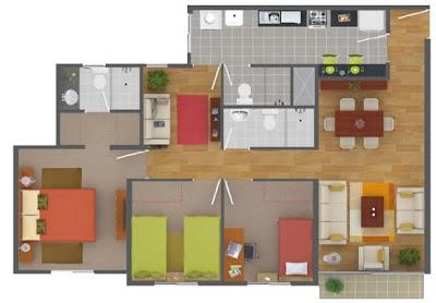 Plano de departamento de 90 metros cuadrados con 3 for Modelos de banos para departamentos