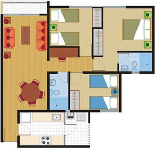 Planos de 81 y 86 m2 departamentos en venta en chorillos for Planos de departamentos 3 dormitorios