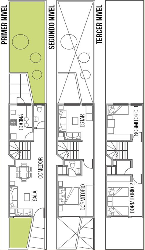 Planos para terreno largo rectangular de fachada angosta - Planos de casas alargadas ...