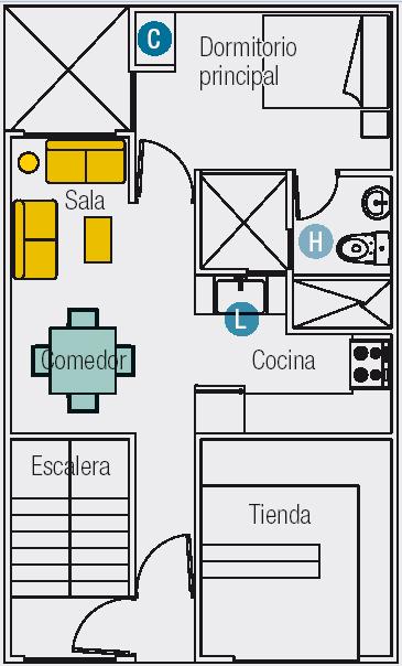 Planos de 3 mini departamentos en terreno de 60m2 6mx10m for Planos de cocina y lavanderia