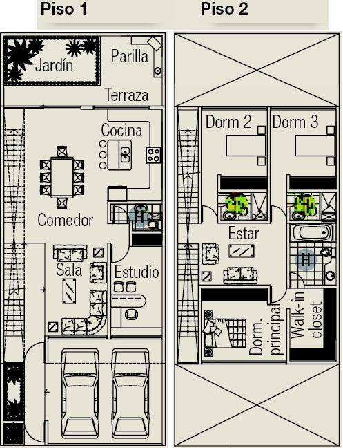 Planos de casa en terreno de 160m2 planos de casas for Cuantos escalones tiene un piso