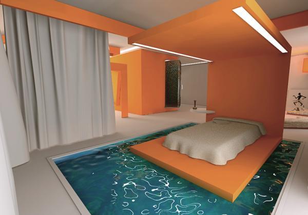 Dormitorios con piscina for Que poner debajo de una piscina desmontable