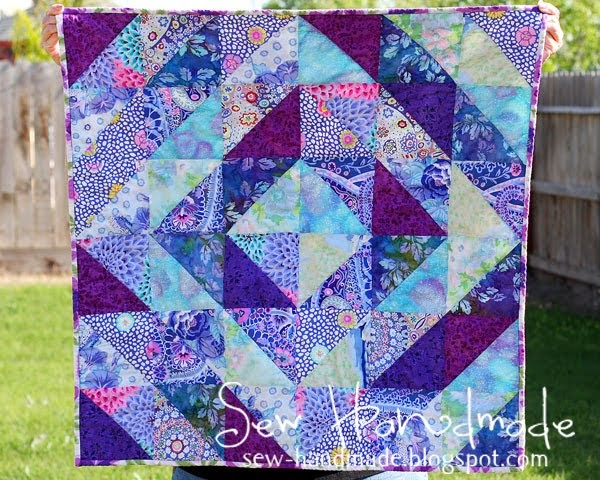 Sew Handmade Purple Amp Blue Values Quilt