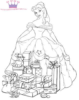 CHRISTMAS PRINCESS COLORING PAGE