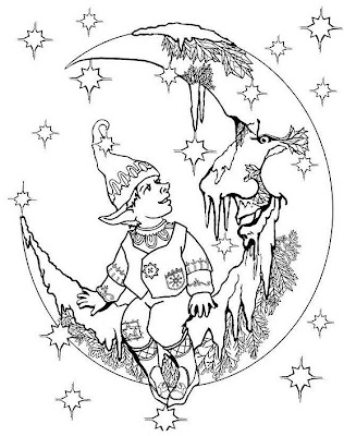 Big family coloring pages for Christmas fairy coloring pages