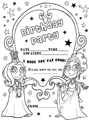 Birthday Party Invitations Coloring Pages | Coloring Page