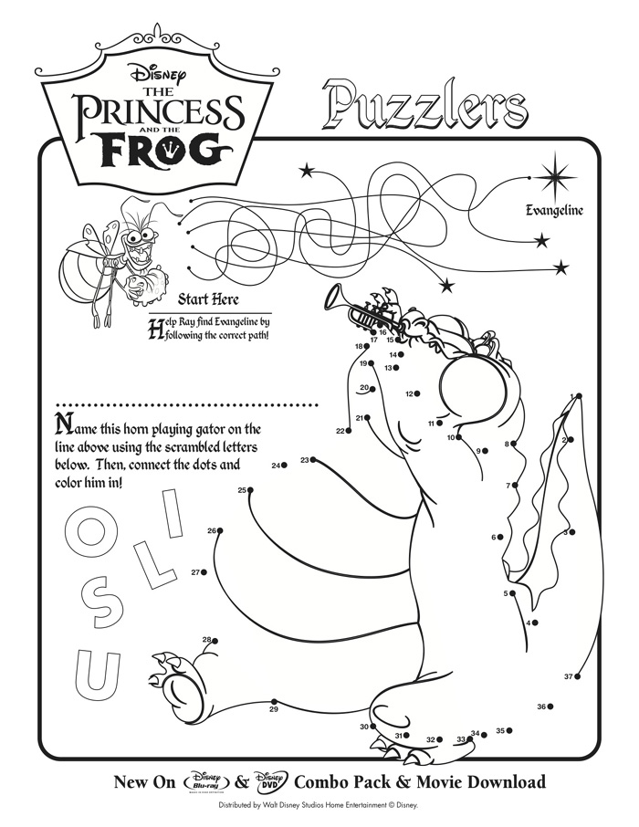 Disney Activity Sheets From Princess And The Frog