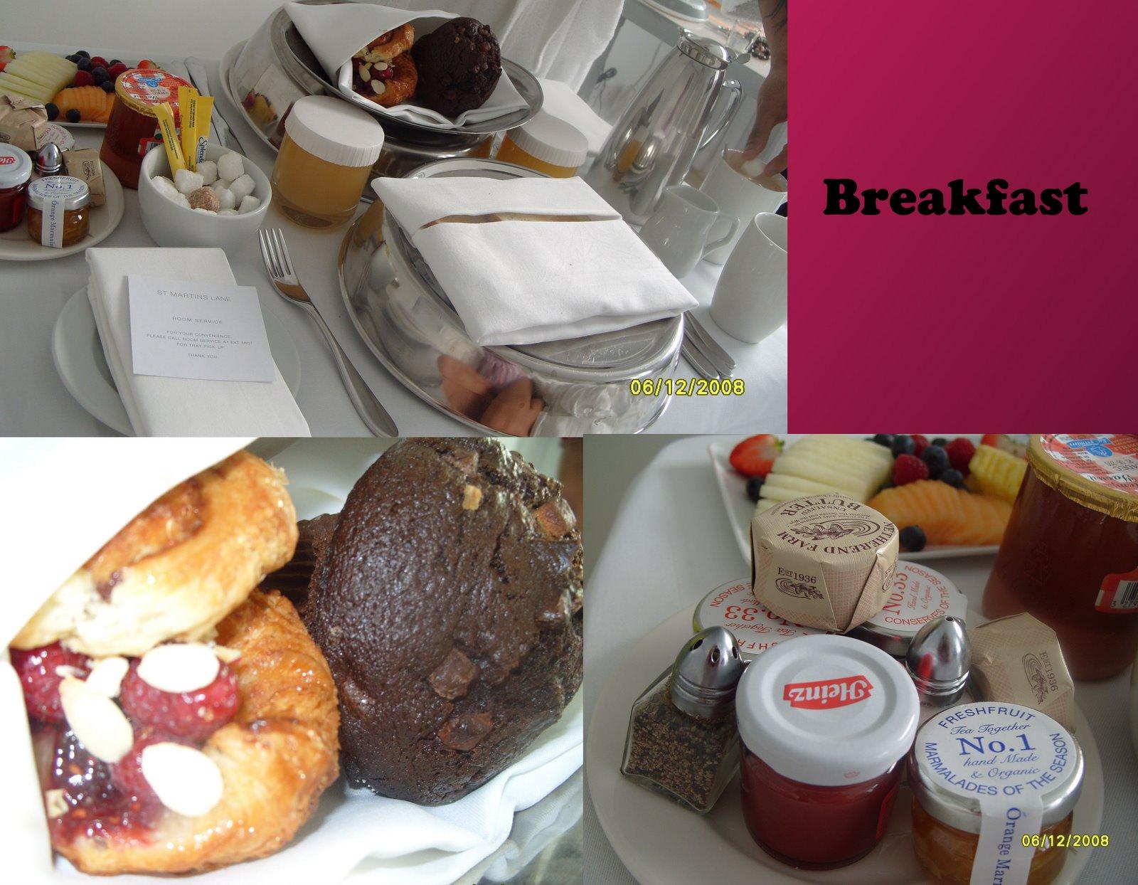 breakfast room service at St Martin's Lane Hotel