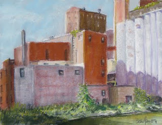 shadows of ELevator Alley pastel Kath Schifano Kathy Painting