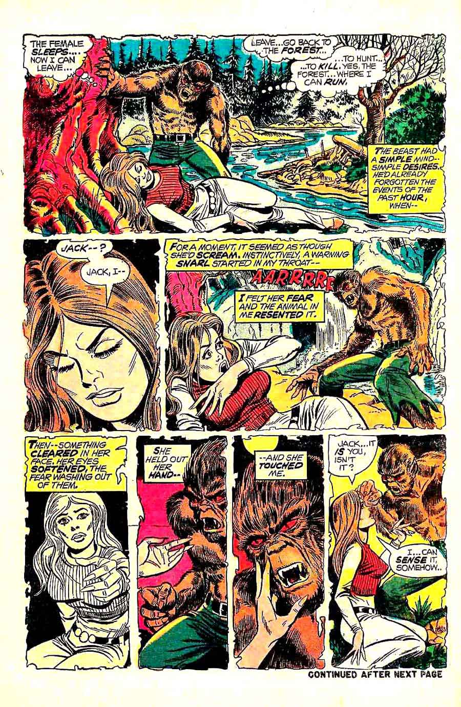 Werewolf by Night v1 #4 1970s marvel comic book page art by Mike Ploog