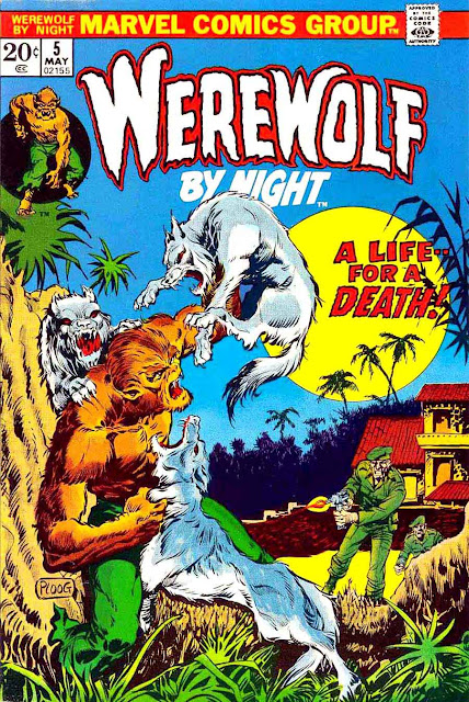 Werewolf by Night v1 #5 1970s marvel comic book cover art by Mike Ploog