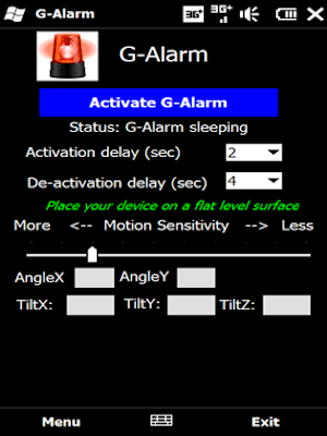 G-Alarm windows mobile app