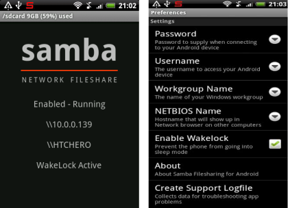 samba file sharing android app