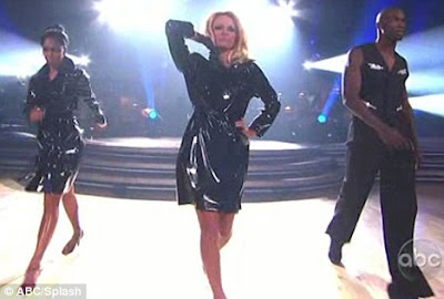 Making An Entrance L R Nicole Scherzinger Pamela Anderson And Chad Ochocinco Strut On Stage In Pvc Mackintoshes For Their Cha Cha Challenge On Dancing