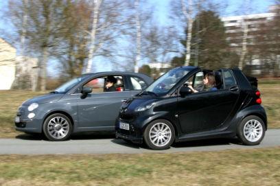 New Fiat 500 C Vs Smart Fortwo Cabrio