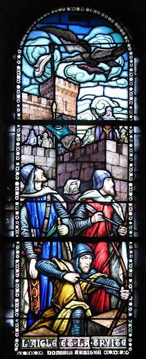 O misterioso prodígio: uma águia traz um peixe aos mouros que passavam fome, vitral na capela do castelo