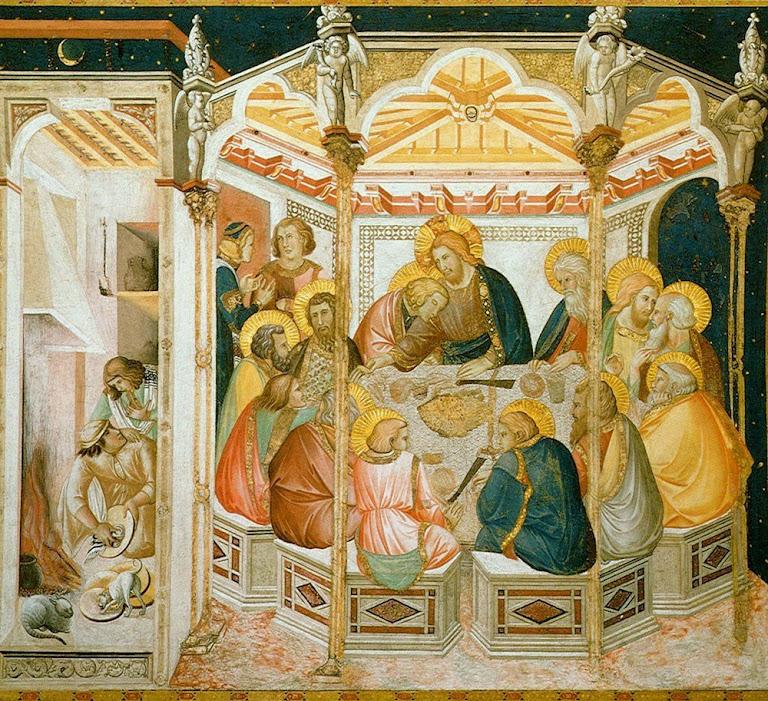 Última Ceia, de Pietro Lorenzetti. O Cenáculo foi o local da primeira Missa