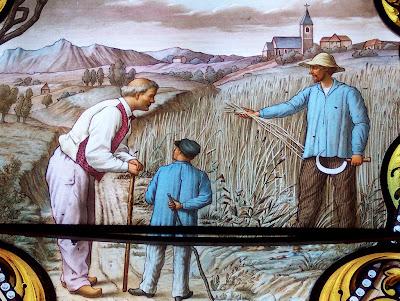 Prova da aparição: o trigo se desfazia e a população passava fome. Vitral do Santuário de La Salette
