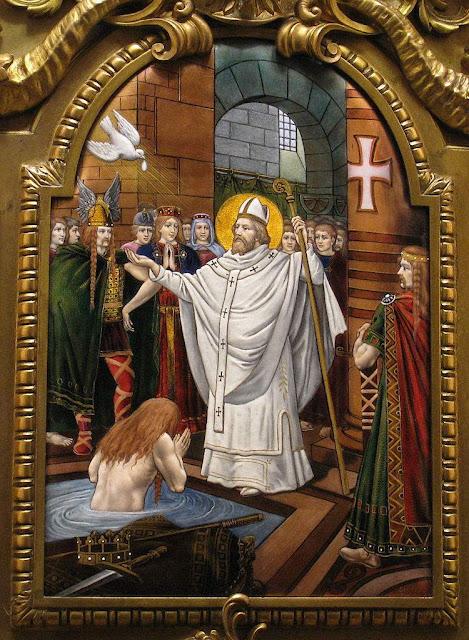 São Remígio batiza Clóvis. Esmalte do túmulo de S.Remígio. Basílica de St Rémi, Reims, França