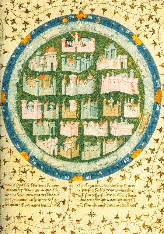 Mapamundi com cidades medievais