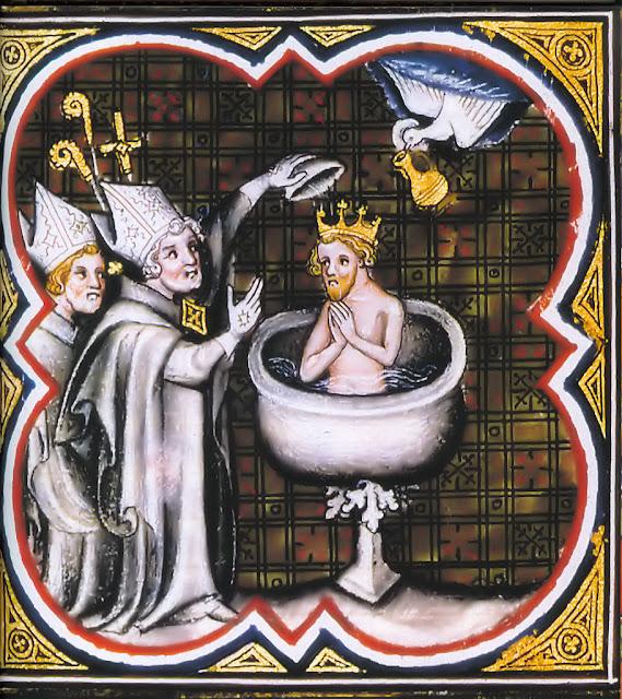 São Remígio batiza Clóvis, rei dos francos. Foi a nascença da França. Grandes Chroniques de France, Bibliothèque National de France.