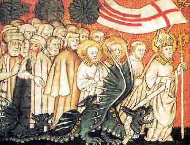 São Clemente, primeiro bispo de Metz encadeia o demônio