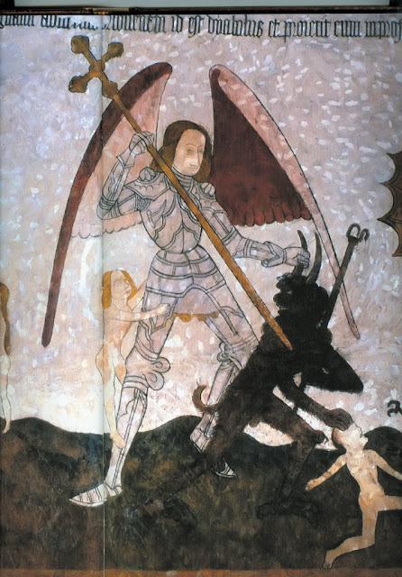 São Miguel Arcanjo resgata alma que estava sendo levada pelo diabo, Allemans-du-Dropt, Lot-et-Garonne