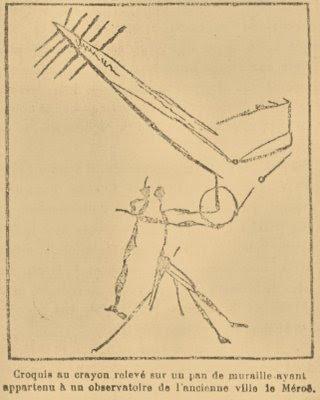 Grafito num muro do observatório de Meroe