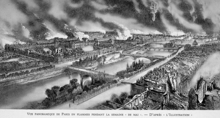 Panorama dos incêndios comunistas durante a Comuna de Paris, 1871