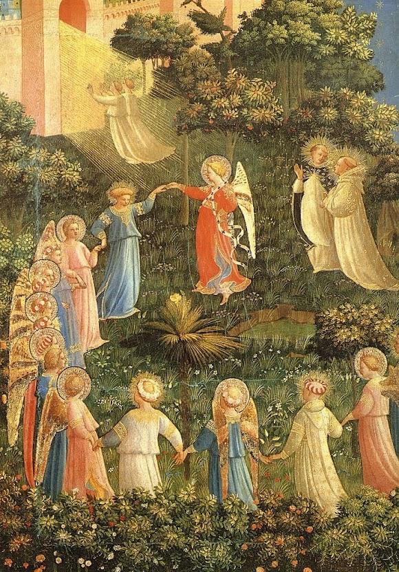 Os anjos conduzem as almas santas ao Céu. Detalhe do Juízo Final de Fra Angelico (1395 – 1455), convento de San Marco, Florença