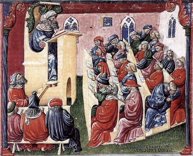 Na Idade Média a Igreja criou as Universidades. Aula em Universidade medieval. Laurentius de Voltolina