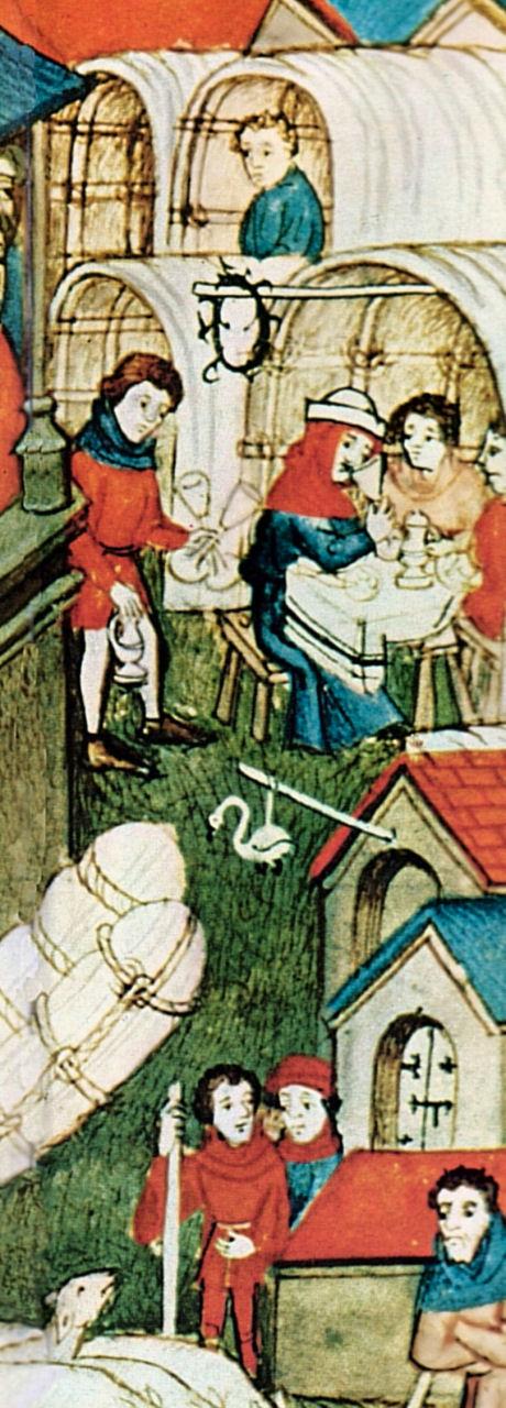 """""""La foire du Lendit"""", detalhe, anônimo, século XIV, 'Pontifical de Sens', França,  na BnF (departemento dos Manuscritos, Latin 962, fol. 264."""