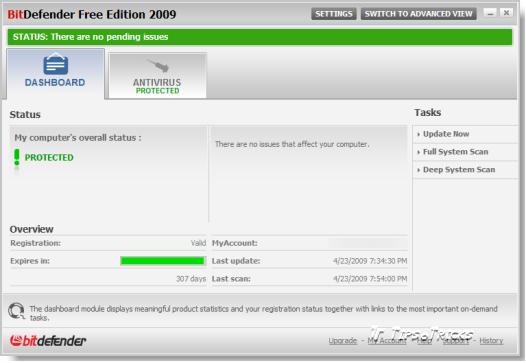 BitDefender Antivirus 2009 FREE Edition - Basic View Screenshot
