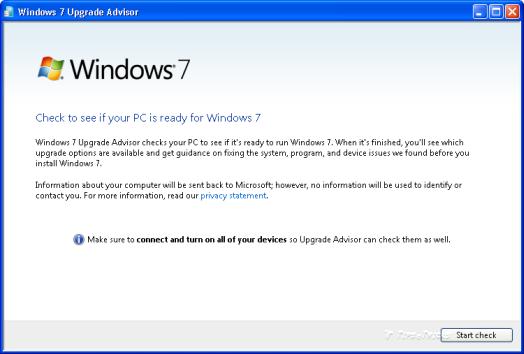 Download Windows 7 upgrade advisor