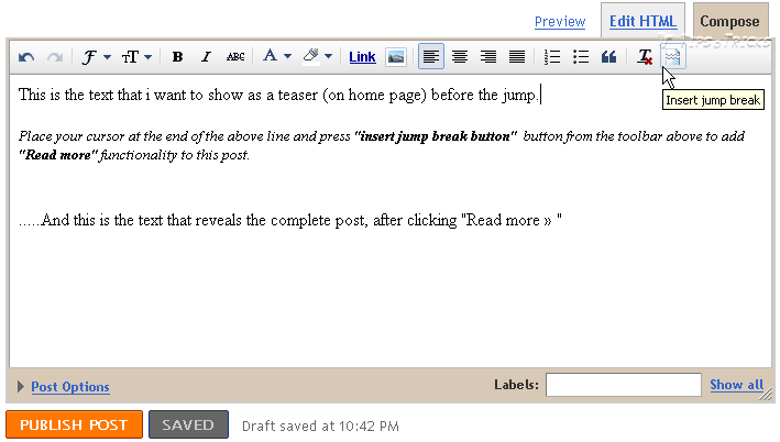Quick Method to add Read More in blogger blog