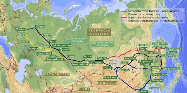 Mapa trasy Transsyberyjskiej z Rosji do Mongolii