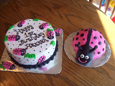 This Is A Lady Bug Cake For Little Hannahs First Birthday Complete With Her Own Smash These Both Buttercream Icing