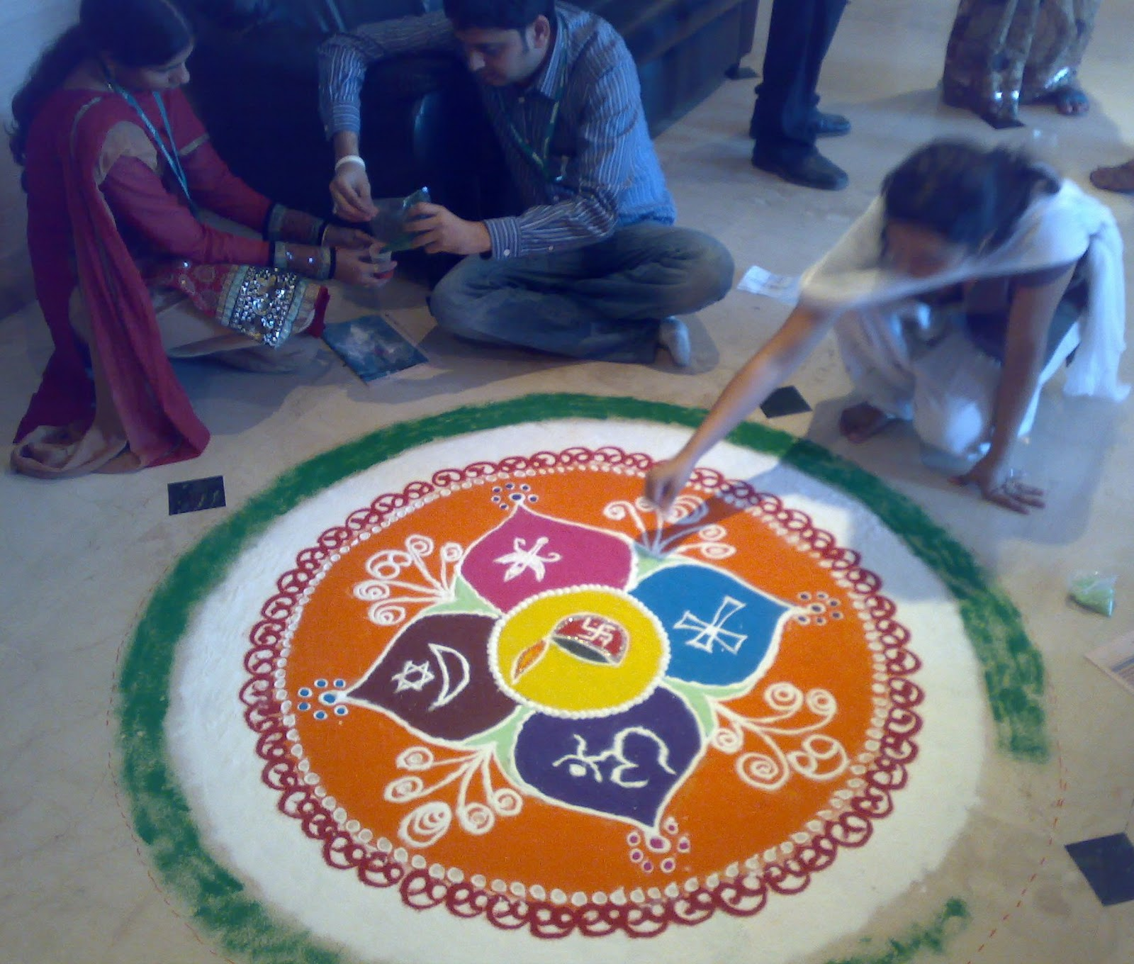 kiran hegdes blog rangoli amp cubicle decoration
