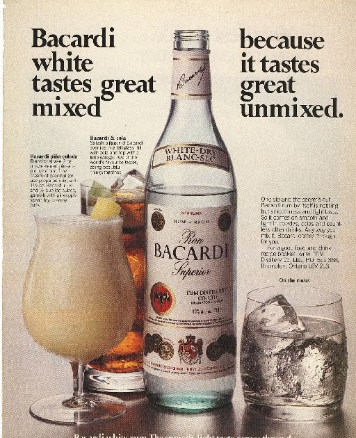 advert analysis bacardi rum It's not a traditional road—have a tv advertisement or a traditional  (vergara  oversees the grey goose vodka and bacardi rum brands)  one notable  exception: the artists don't have to pay to play, meaning all sales go to.